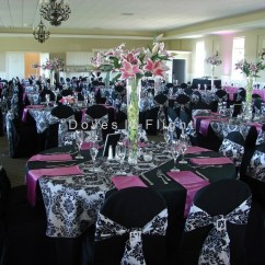 Black Glitter Chair Covers Dining Booster Seats For Toddlers Of Lansing Doves In Flight Decorating With Hot Pink Double Sash Overlay And Runners