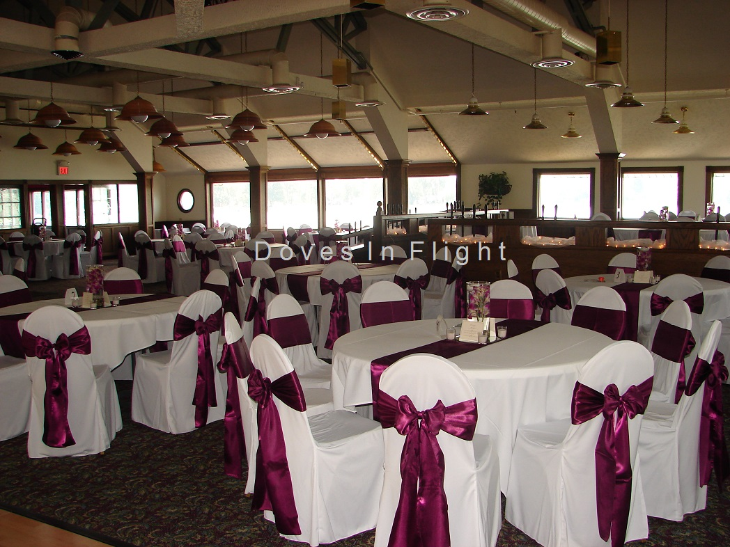 banquet hall chair covers purple high back of lansing doves in flight decorating