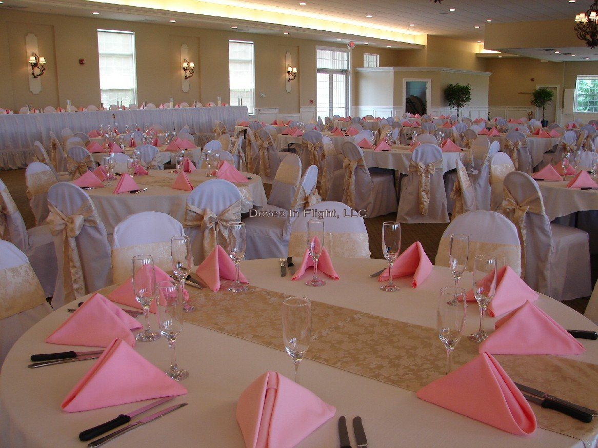 white chair covers with ivory sash minnie mouse table and set canada of lansing doves in flight decorating