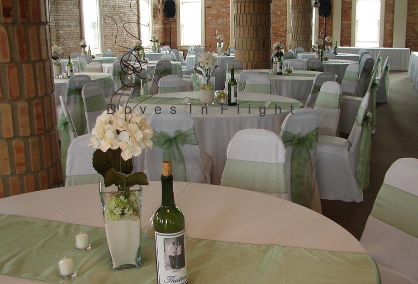 chair covers sage green irish deck of lansing doves in flight decorating grand loft organza sash