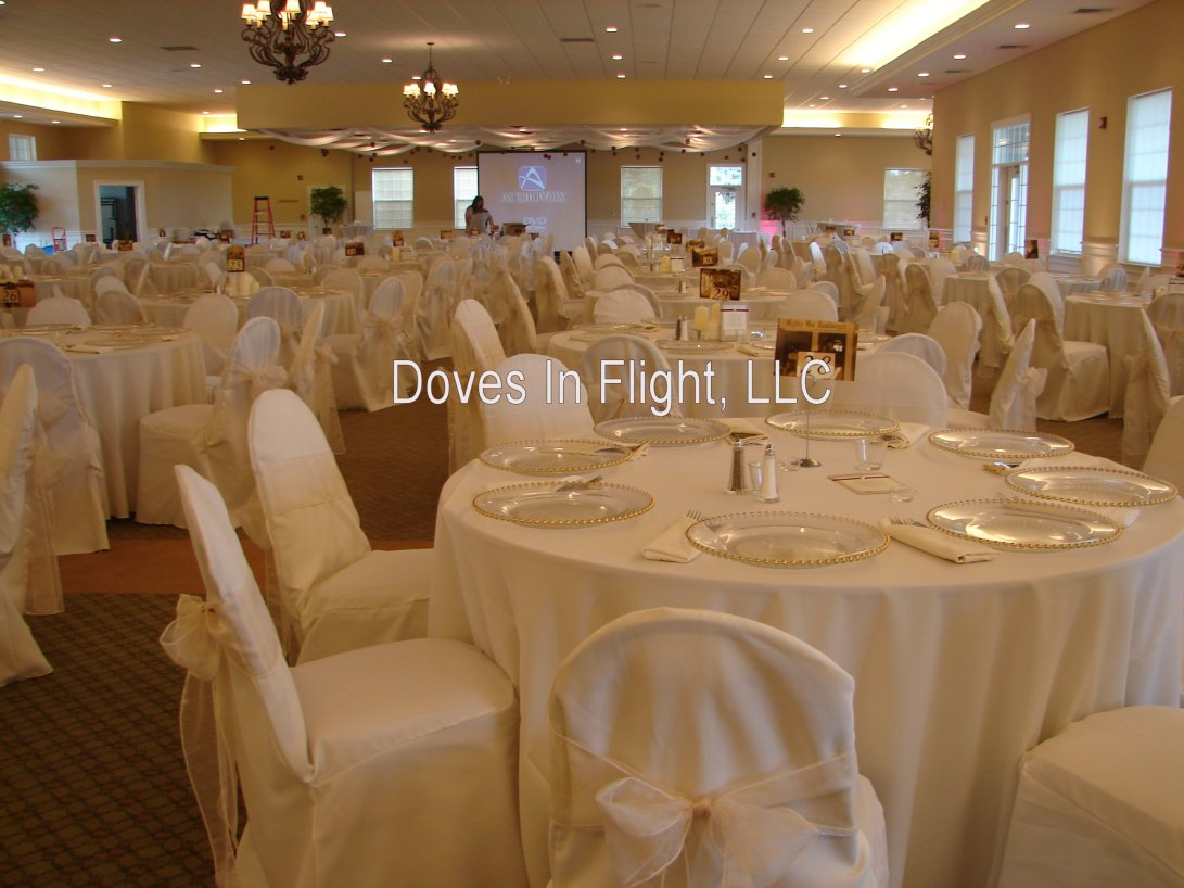 chair covers decorations parson walmart of lansing doves in flight decorating ivory sash on eagle eye banquet center