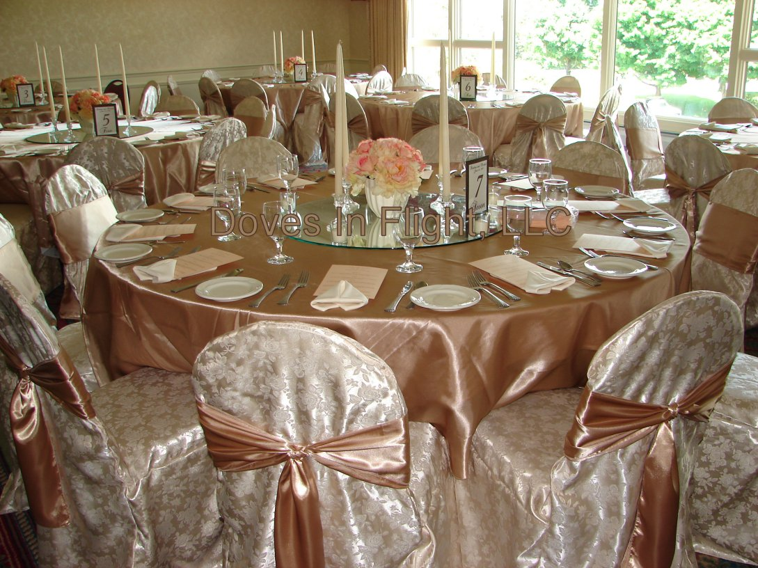 chair covers decorations portland tub of lansing doves in flight decorating walnut hills cc champagne jacquard dark sashes and linens