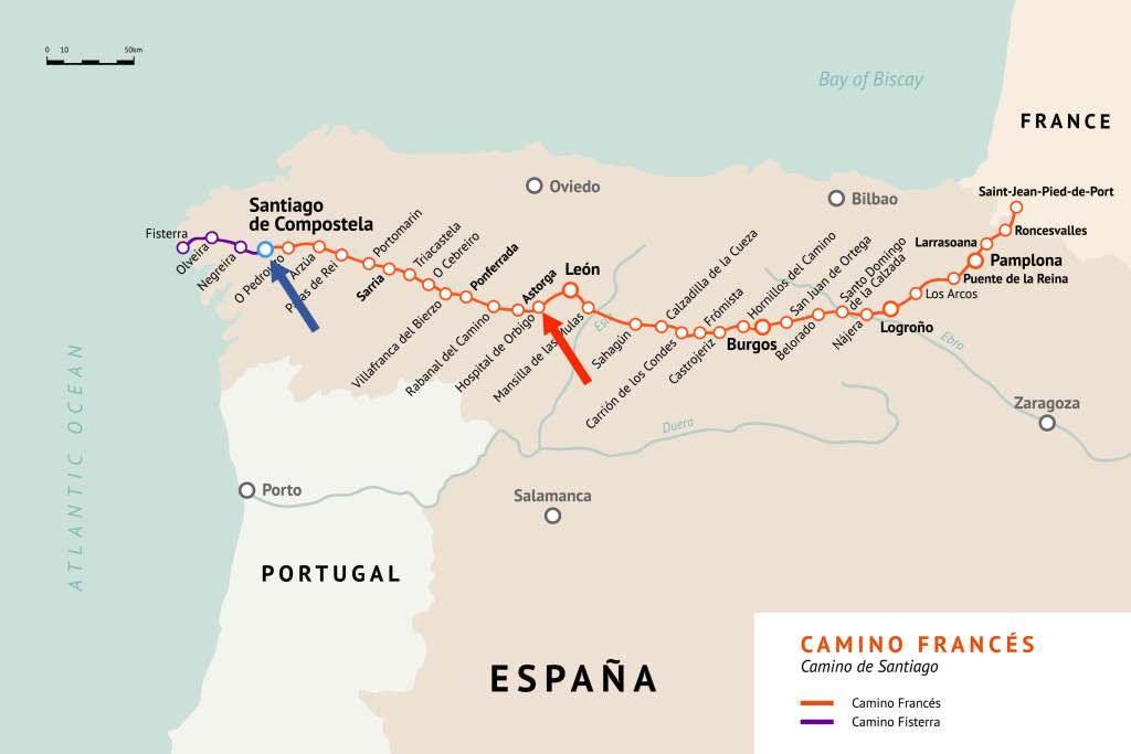 Map of Wendy's Camino de Santiago pilgrimage. She walked from Astorga to Santiago de Compostela.