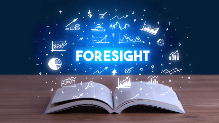 Picture of a open book with the word Foresight above it.