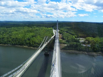 The view of the Penobscot Narrows Bridge from the observatory.