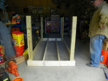 Pre-building the coop foundation and floor joists