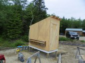 Coop nesting box in place