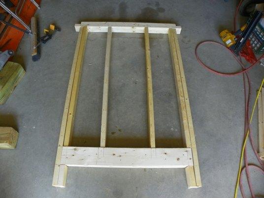 Pre-assembling coop walls in the garage