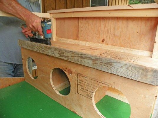 Upper deck installed over nesting boxes