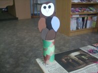 Loraleigh at the Neepawa Public Library in Manitoba had her children's group make the barn owls. Very cute!