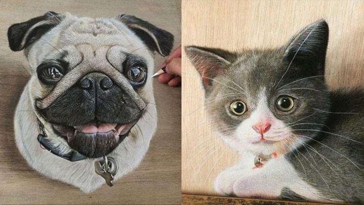 Hyper Realistic Drawings on Wooden Boards