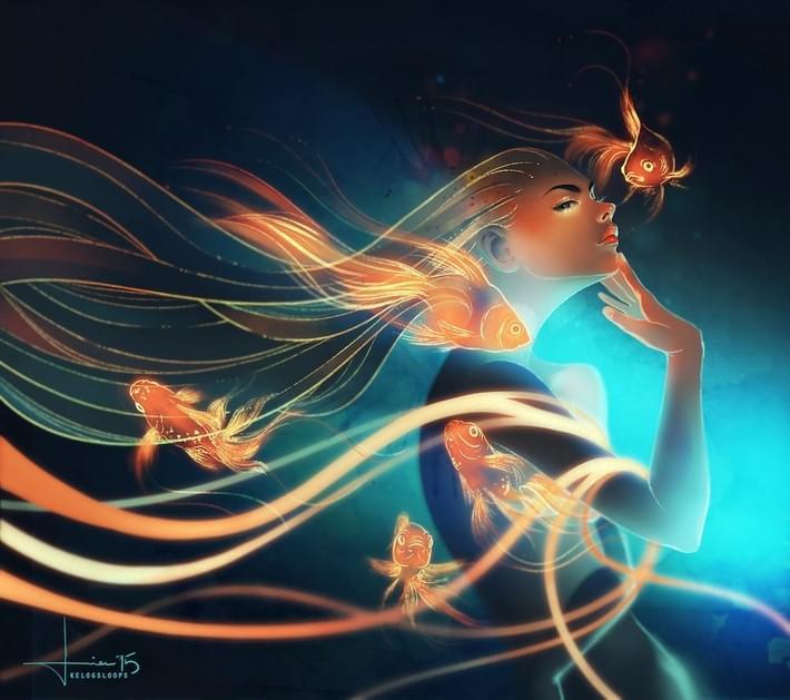 Girl Goldfish Wallpaper Beautiful Digital Art And Illustration Of Kelogsloops