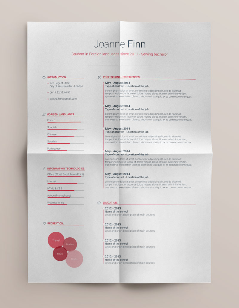 Best Free Clean Resume Templates in PSD, AI and Word Docx Format
