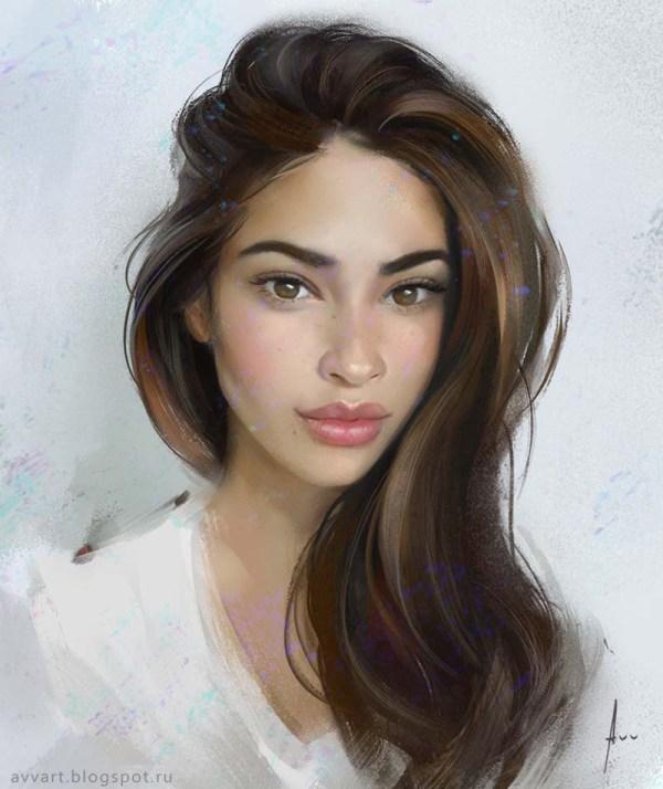 Beautiful Girls Portraits Illustration