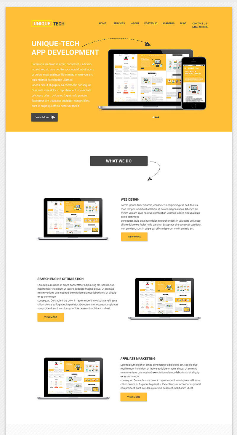Clean and Beautiful Free Corporate PSD Website Template