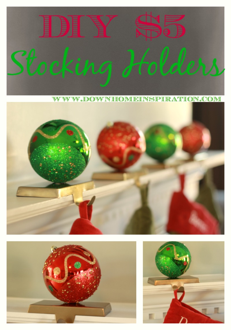 DIY $5 Stocking Holders from Cheap Ornaments - Tutorial via Down Home Inspiration
