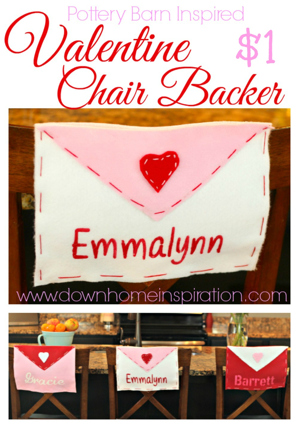 Pottery Barn Inspired Valentine Chair Backer Down Home