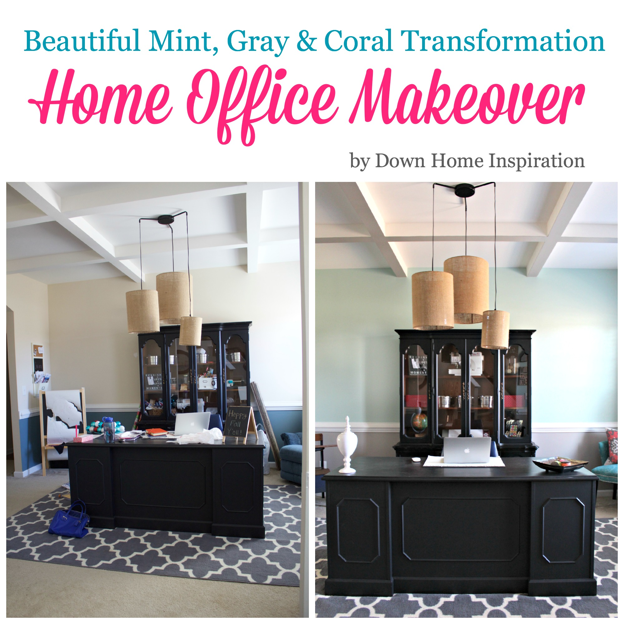 Home Office MakeoverBeautiful Mint Gray Amp Coral