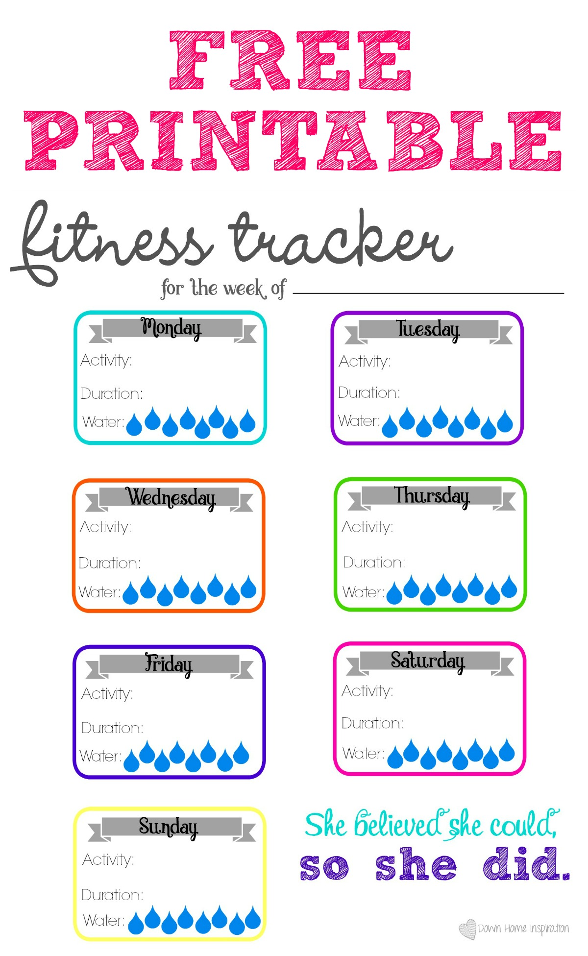 photo relating to Fitness Tracker Printable known as Totally free Printable Health and fitness Tracker - Down Property Commitment