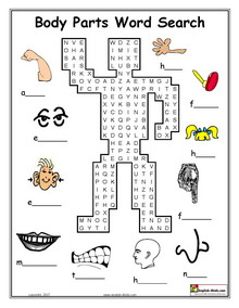 ESL, English vocabulary, Printable body parts worksheets