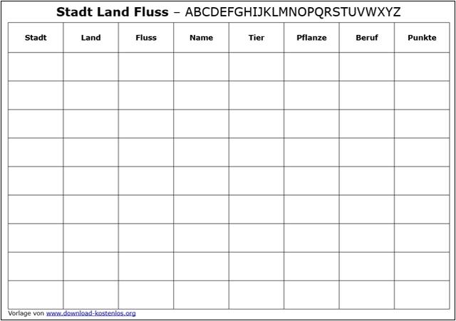 Stadt Land Fluss Vorlage download kostenlos