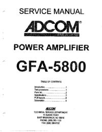 Adcom GFA-5800 Amplifier Service Manual