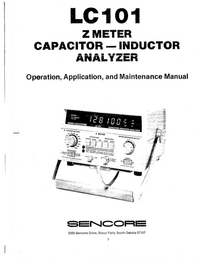 Sencore LC101 Analyzer Service Manual