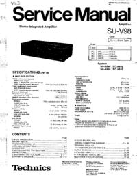Technics SU-V98 Amplifier Service Manual