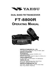 Yaesu FT-8800R Transceiver User Manual