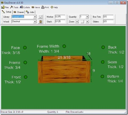 Easy Drawer: Free Wooden Furniture Drawing Utility