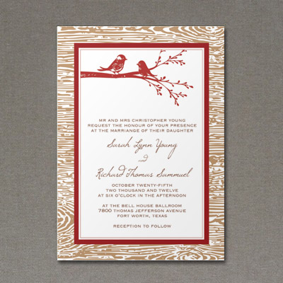 Wedding Invitation Template With Rustic Bird Design