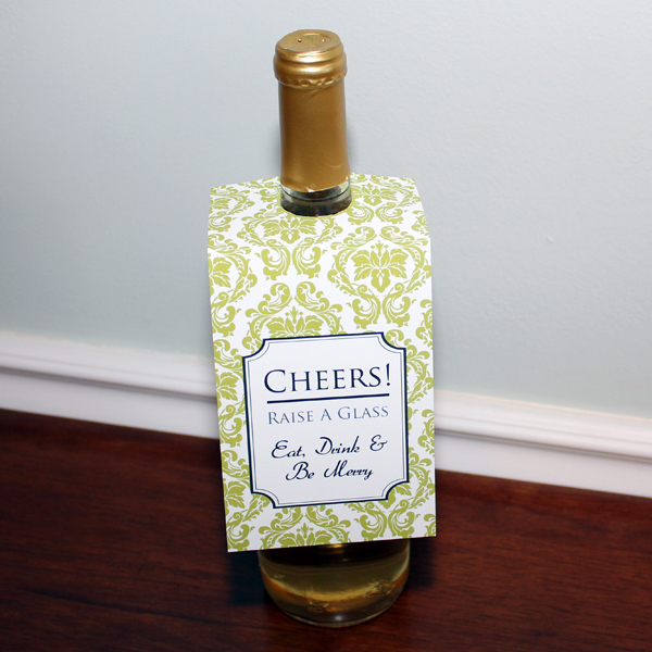 Damask Wine Bottle Tag Template – Download & Print