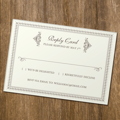 Rsvp Card Template With Retro Typography Print