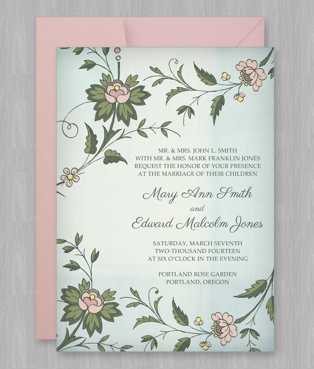 Watercolor Flowers Invitation Template