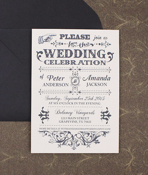 Old Fashioned Typography Wedding Invitation