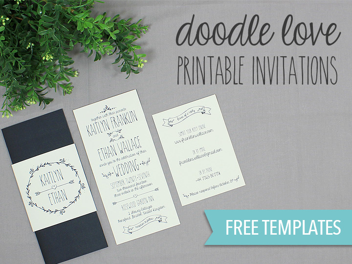Doodle Love Printable Wedding Invitation Set