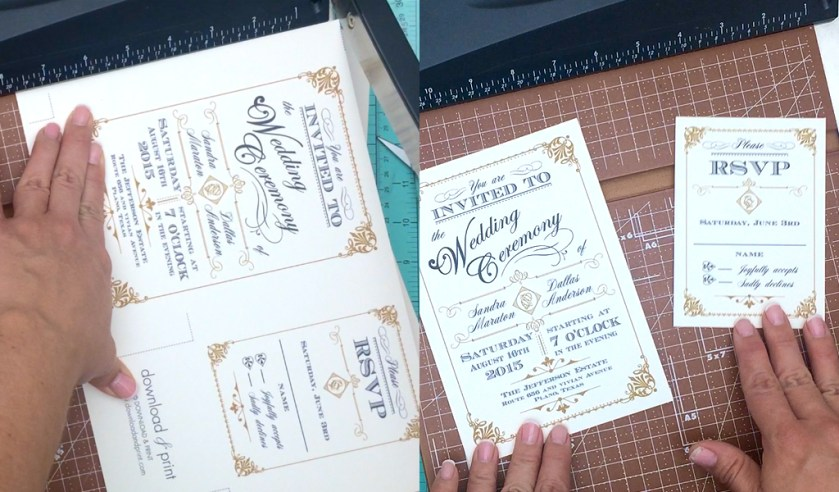 Diy Vine Wedding Invitation In Black And Gold Print