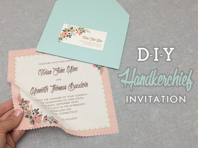 Diy Vine Hanky Wedding Invitation With Free Template Print
