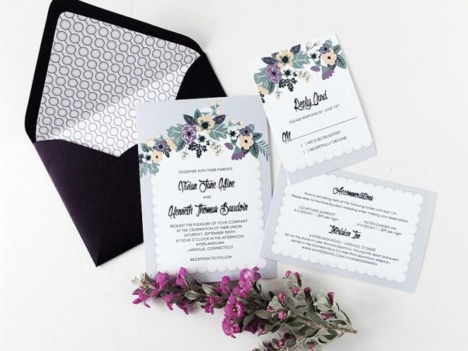 Printable Vintage Fl Wedding Invitation Set