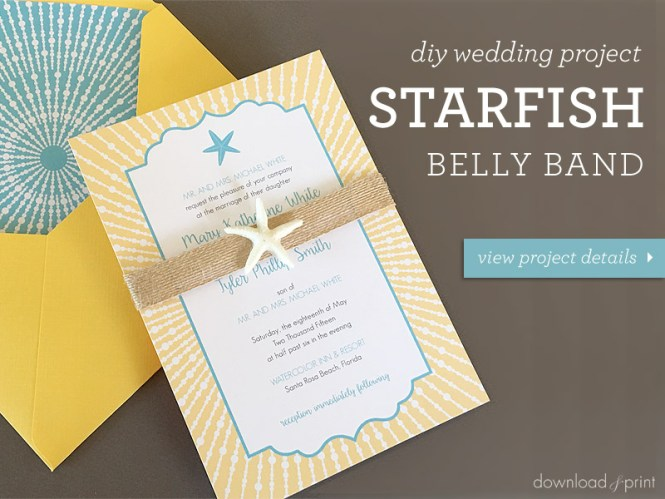 Diy Beach Wedding Invitation With Starfish Belly Band