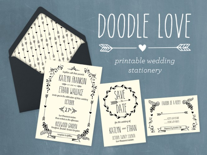 Hand Drawn Diy Wedding Invitation