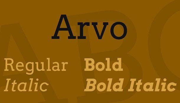 Arvo Font Family Free