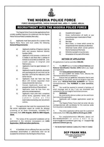 NPF Recruitment 2020