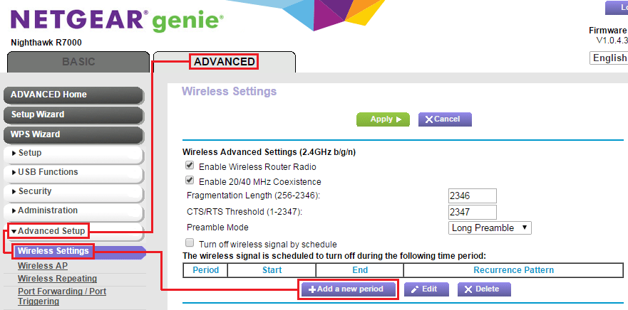 How do I set up the wireless schedule on my Nighthawk router? | Answer | NETGEAR Support