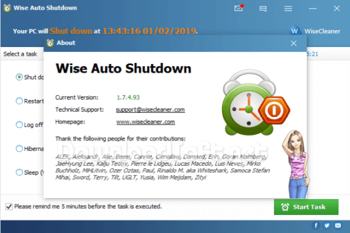 Download Wise Auto Shutdown Free PC Log Off / Sleep Tool