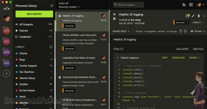 Descargar Cacher Gratis - Almacenar Fragmentos de Código