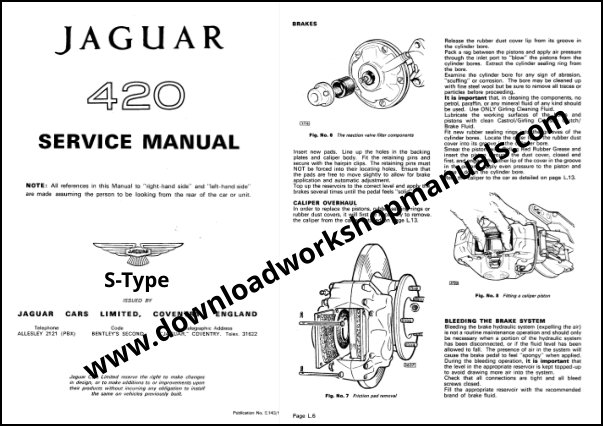 JAGUAR S TYPE MK10 420 420G Workshop Repair Manual