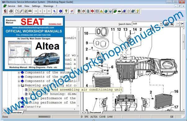 2012 Dodge Wiring Seat Altea Workshop Repair Manual