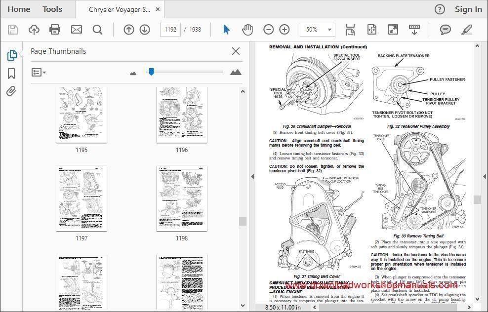 Chrysler Grand Voyager Workshop Service Repair Manual