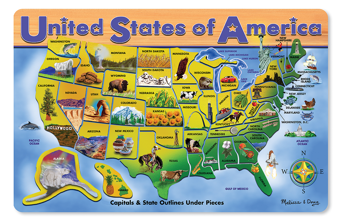 United States Of America Wooden Puzzle